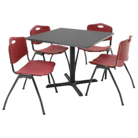 "36"" Square Table with Plastic Chairs - Mocha Walnut Table / Burgundy Chairs"