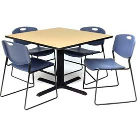 "42"" Square Table with Wide Plastic Chairs - Beige Table / Blue Chairs"