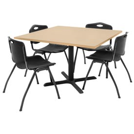 """42"""" Square Table with Plastic Chairs - Beige Table / Black Chairs"""