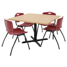 "42"" Square Table with Plastic Chairs - Beige Table / Burgundy Chairs"