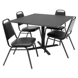 "42"" Square Table with Vinyl Chairs - Gray Table / Black Chairs"
