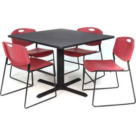 "42"" Square Table with Wide Plastic Chairs - Gray Table / Burgundy Chairs"