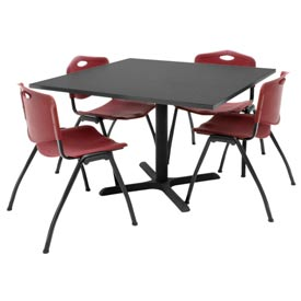 "42"" Square Table with Plastic Chairs - Gray Table / Burgundy Chairs"