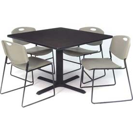 "42"" Square Table with Wide Plastic Chairs - Mocha Walnut Table / Gray Chairs"
