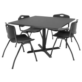 "42"" Square Table with Plastic Chairs - Mocha Walnut Table / Black Chairs"