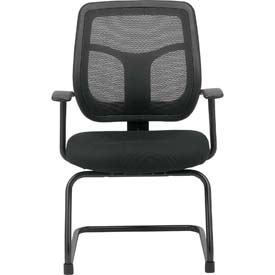 APOLLO Guest Chair, MTG9900-BLK, Black Fabric / Mesh, Armless Arms