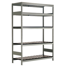 "5 Shelf High-Density Storage for Taper 40 - 60""Wx18""Dx87""H Light Gray"