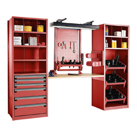 """Multipurpose Workstation for 50 KM - 36""""Wx24""""Dx87""""H Red"""