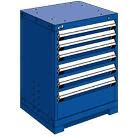 "Rousseau Metal Heavy Duty Modular Drawer Cabinet 6 Drawer Bench High 24""W - Avalanche Blue"
