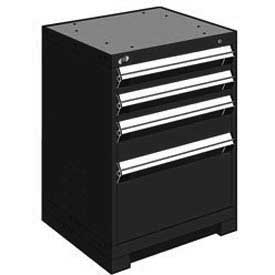 "Rousseau Metal Heavy Duty Modular Drawer Cabinet 4 Drawer Bench High 24""W - Black"