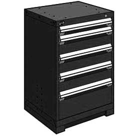 "Rousseau Metal Heavy Duty Modular Drawer Cabinet 5 Drawer Counter High 24""W - Black"