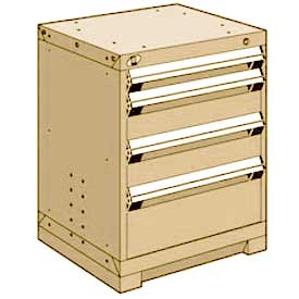 "Rousseau Metal Heavy Duty Modular Drawer Cabinet 4 Drawer Bench High 24""W - Beige"