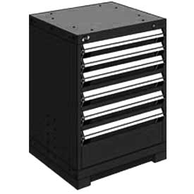 "Rousseau Metal Heavy Duty Modular Drawer Cabinet 6 Drawer Bench High 24""W - Black"