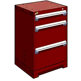 "Rousseau Metal Heavy Duty Modular Drawer Cabinet 3 Drawer Counter High 24""W - Red"