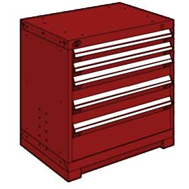 """Rousseau Metal Heavy Duty Modular Drawer Cabinet 5 Drawer Bench High 30""""W - Red"""