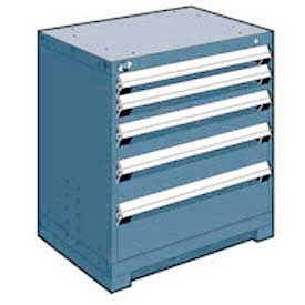 "Rousseau Metal Heavy Duty Modular Drawer Cabinet 5 Drawer Bench High 30""W - Everest Blue"
