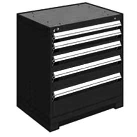 "Rousseau Metal Heavy Duty Modular Drawer Cabinet 5 Drawer Bench High 30""W - Black"