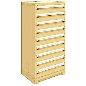 "Rousseau Metal Heavy Duty Modular Drawer Cabinet 9 Drawer Full Height 30""W - Beige"