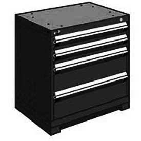 "Rousseau Metal Heavy Duty Modular Drawer Cabinet 4 Drawer Bench High 30""W - Black"