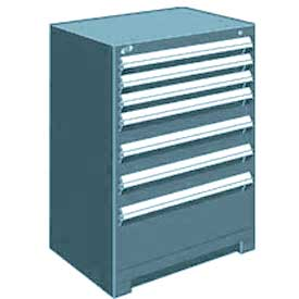 "Rousseau Metal Heavy Duty Modular Drawer Cabinet 7 Drawer Counter High 30""W - Everest Blue"