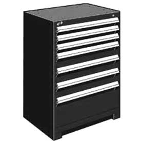 "Rousseau Metal Heavy Duty Modular Drawer Cabinet 7 Drawer Counter High 30""W - Black"