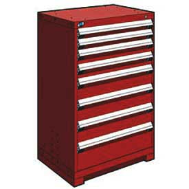 "Rousseau Metal Heavy Duty Modular Drawer Cabinet 8 Drawer Counter High 30""W - Red"