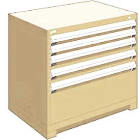 "Rousseau Metal Heavy Duty Modular Drawer Cabinet 5 Drawer Bench High 36""W - Beige"