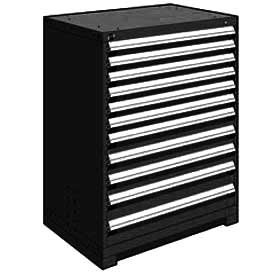 "Rousseau Metal Heavy Duty Modular Drawer Cabinet 11 Drawer Counter High 36""W - Black"