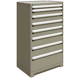 "Rousseau Metal Heavy Duty Modular Drawer Cabinet 8 Drawer Full Height 36""W - Light Gray"
