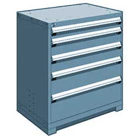 "Rousseau Metal Heavy Duty Modular Drawer Cabinet 5 Drawer Counter High 36""W - Everest Blue"