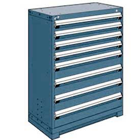 "Rousseau Metal Heavy Duty Modular Drawer Cabinet 8 Drawer Counter High 36""W - Everest Blue"