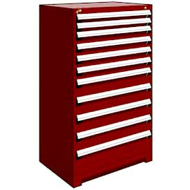 "Rousseau Metal Heavy Duty Modular Drawer Cabinet 11 Drawer Full Height 36""W - Red"