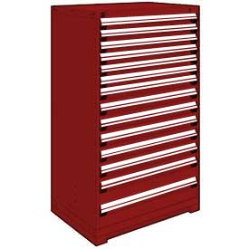 "Rousseau Metal Heavy Duty Modular Drawer Cabinet 14 Drawer Full Height 36""W - Red"