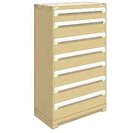 "Rousseau Metal Heavy Duty Modular Drawer Cabinet 7 Drawer Full Height 36""W - Beige"