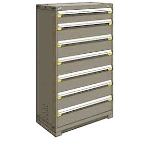 "Rousseau Metal Heavy Duty Modular Drawer Cabinet 7 Drawer Full Height 36""W - Light Gray"