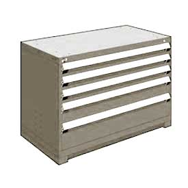 "Rousseau Metal Heavy Duty Modular Drawer Cabinet 5 Drawer Bench High 48""W - Light Gray"