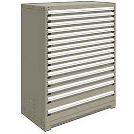 "Rousseau Metal Heavy Duty Modular Drawer Cabinet 15 Drawer Full Height 48""W - Light Gray"