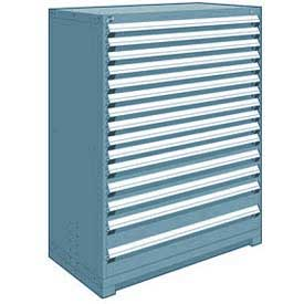 "Rousseau Metal Heavy Duty Modular Drawer Cabinet 15 Drawer Full Height 48""W - Everest Blue"