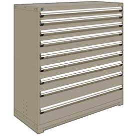 "Rousseau Metal Heavy Duty Modular Drawer Cabinet 9 Drawer Full Height 60""W - Light Gray"
