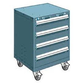"Rousseau Metal 4 Drawer Heavy-Duty Mobile Modular Drawer Cabinet - 24""Wx21""Dx33-1/4""H Everest Blue"