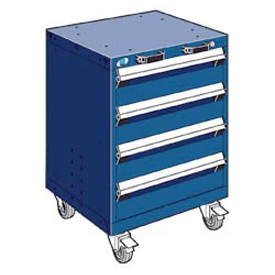 """Rousseau Metal 4 Drawer Heavy-Duty Mobile Modular Drawer Cabinet - 24""""Wx21""""Dx33-1/4""""H Avalanche Blue"""