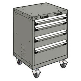 "Rousseau Metal 4 Drawer Heavy-Duty Mobile Modular Drawer Cabinet - 24""Wx21""Dx33-1/4""H Light Gray"