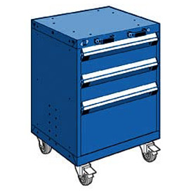 "Rousseau Metal 3 Drawer Heavy-Duty Mobile Modular Drawer Cabinet - 24""Wx21""Dx33-1/4""H Avalanche Blue"