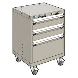 "Rousseau Metal 3 Drawer Heavy-Duty Mobile Modular Drawer Cabinet - 24""Wx21""Dx33-1/4""H Light Gray"