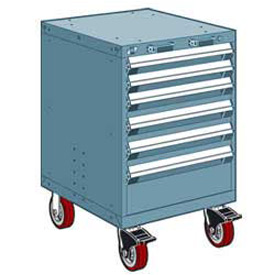 """Rousseau Metal 6 Drawer Heavy-Duty Mobile Modular Drawer Cabinet - 24""""Wx21""""Dx37-1/2""""H Everest Blue"""