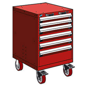 "Rousseau Metal 6 Drawer Heavy-Duty Mobile Modular Drawer Cabinet - 24""Wx21""Dx37-1/2""H Red"