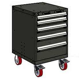 "Rousseau Metal 5 Drawer Heavy-Duty Mobile Modular Drawer Cabinet - 24""Wx21""Dx37-1/2""H Black"