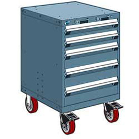 "Rousseau Metal 5 Drawer Heavy-Duty Mobile Modular Drawer Cabinet - 24""Wx21""Dx37-1/2""H Everest Blue"