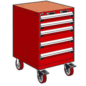 "Rousseau Metal 5 Drawer Heavy-Duty Mobile Modular Drawer Cabinet - 24""Wx21""Dx37-1/2""H Red"