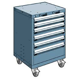 "Rousseau Metal 6 Drawer Heavy-Duty Mobile Modular Drawer Cabinet - 24""Wx21""Dx35-1/4""H Everest Blue"